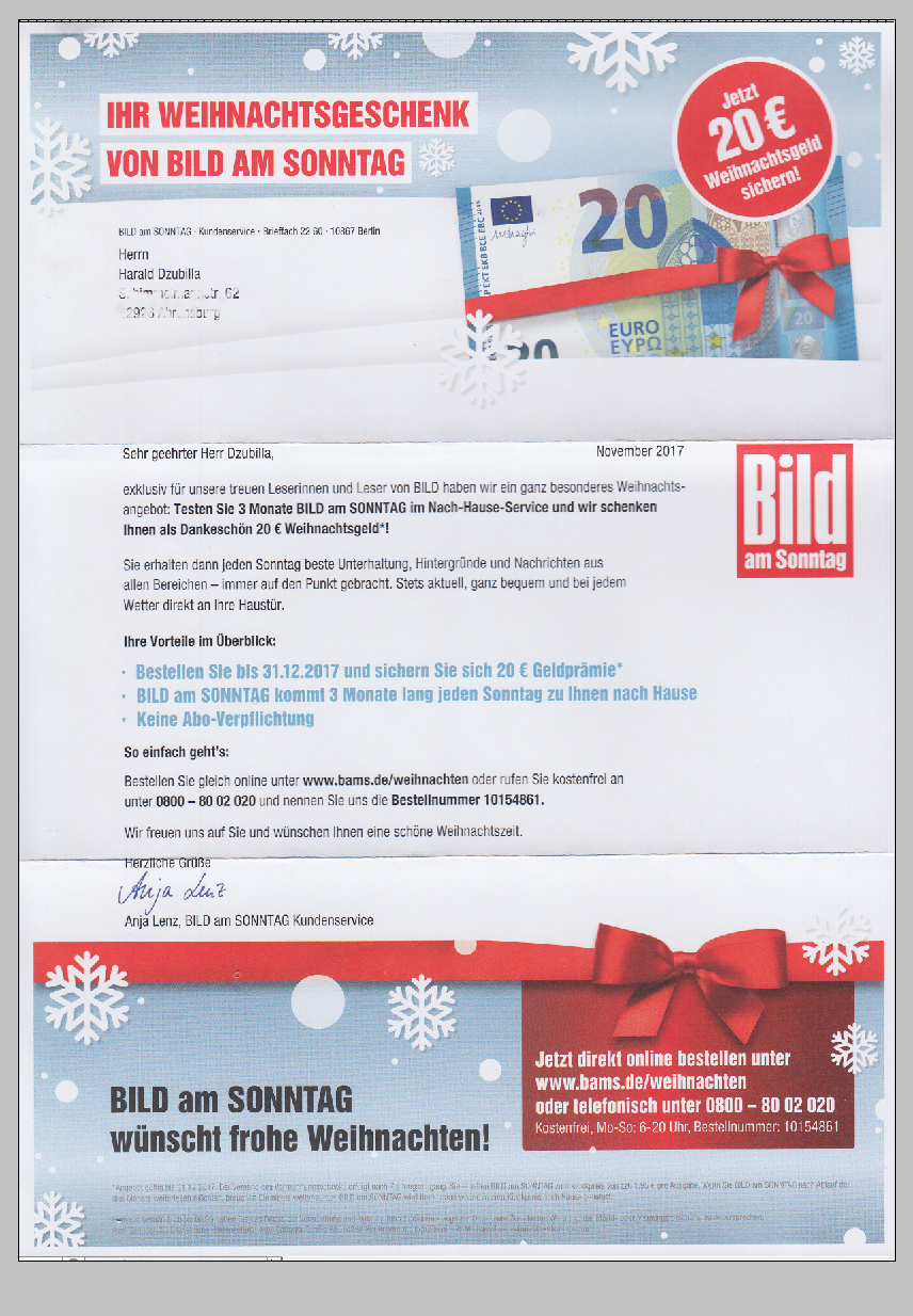 Weihnachtsgeschenk von BILD am SONNTAG: 3 Monate lang testen und ...
